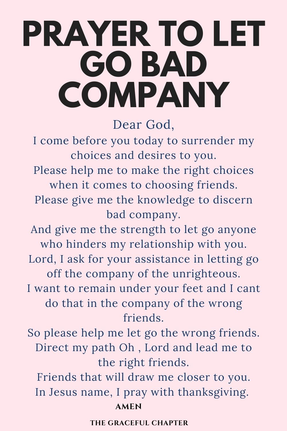 prayer to let go bad friends