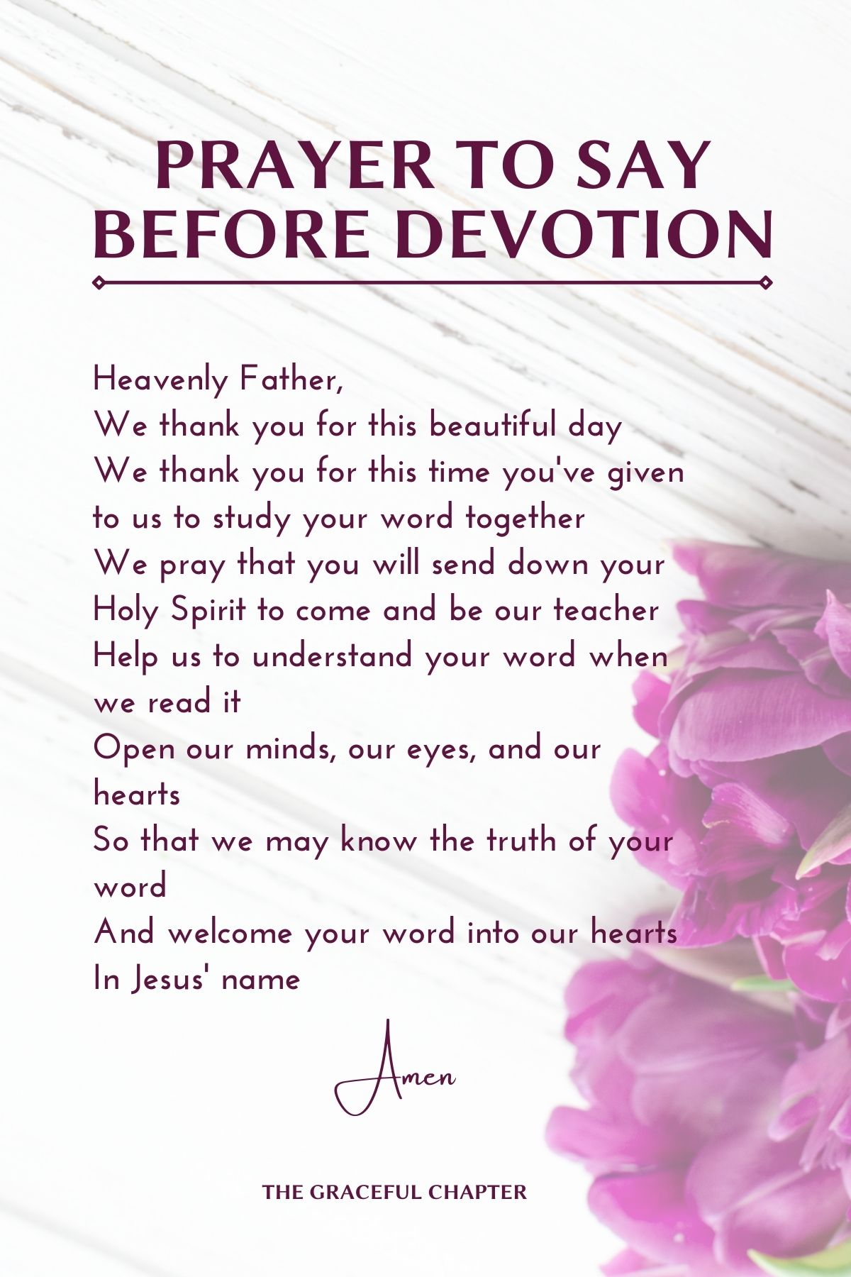 prayer to say before devotion