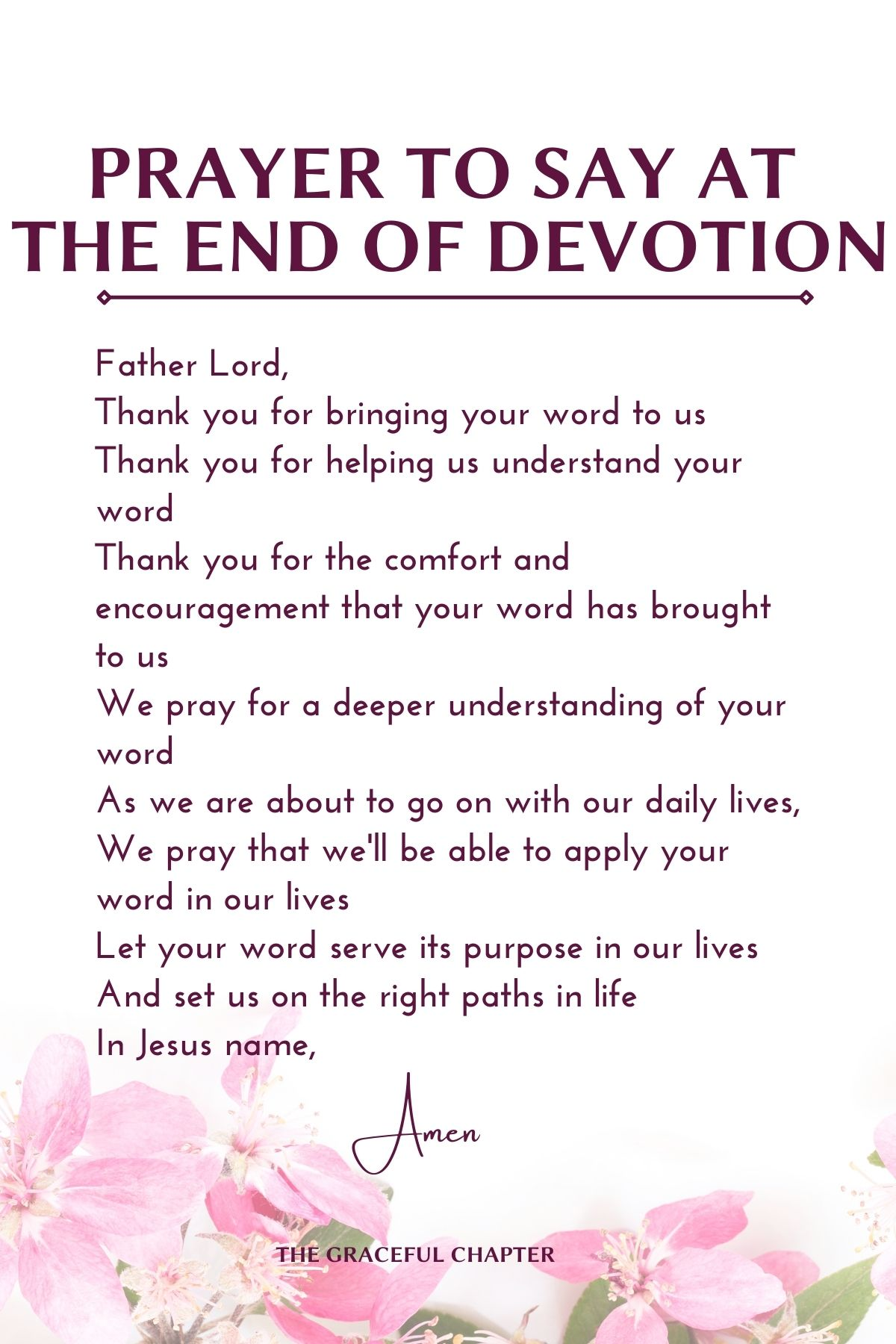prayer to say at the end of devotion