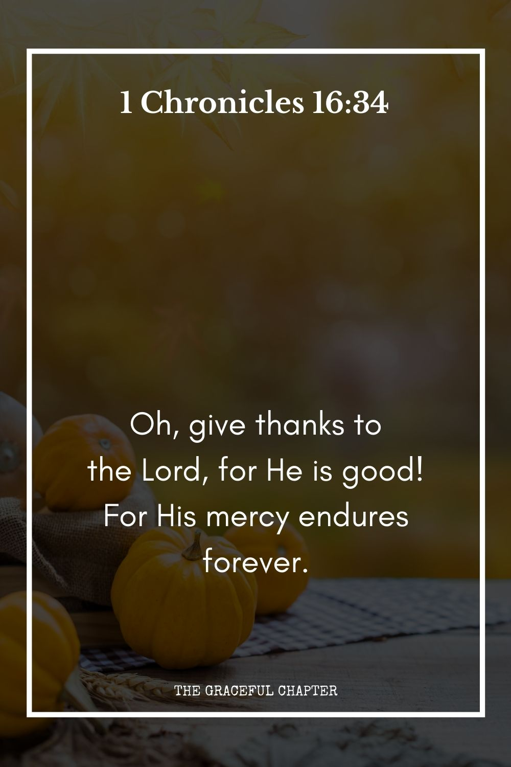 Oh, give thanks to the Lord, for He is good!  For His mercy endures forever. 1 Chronicles 16:34