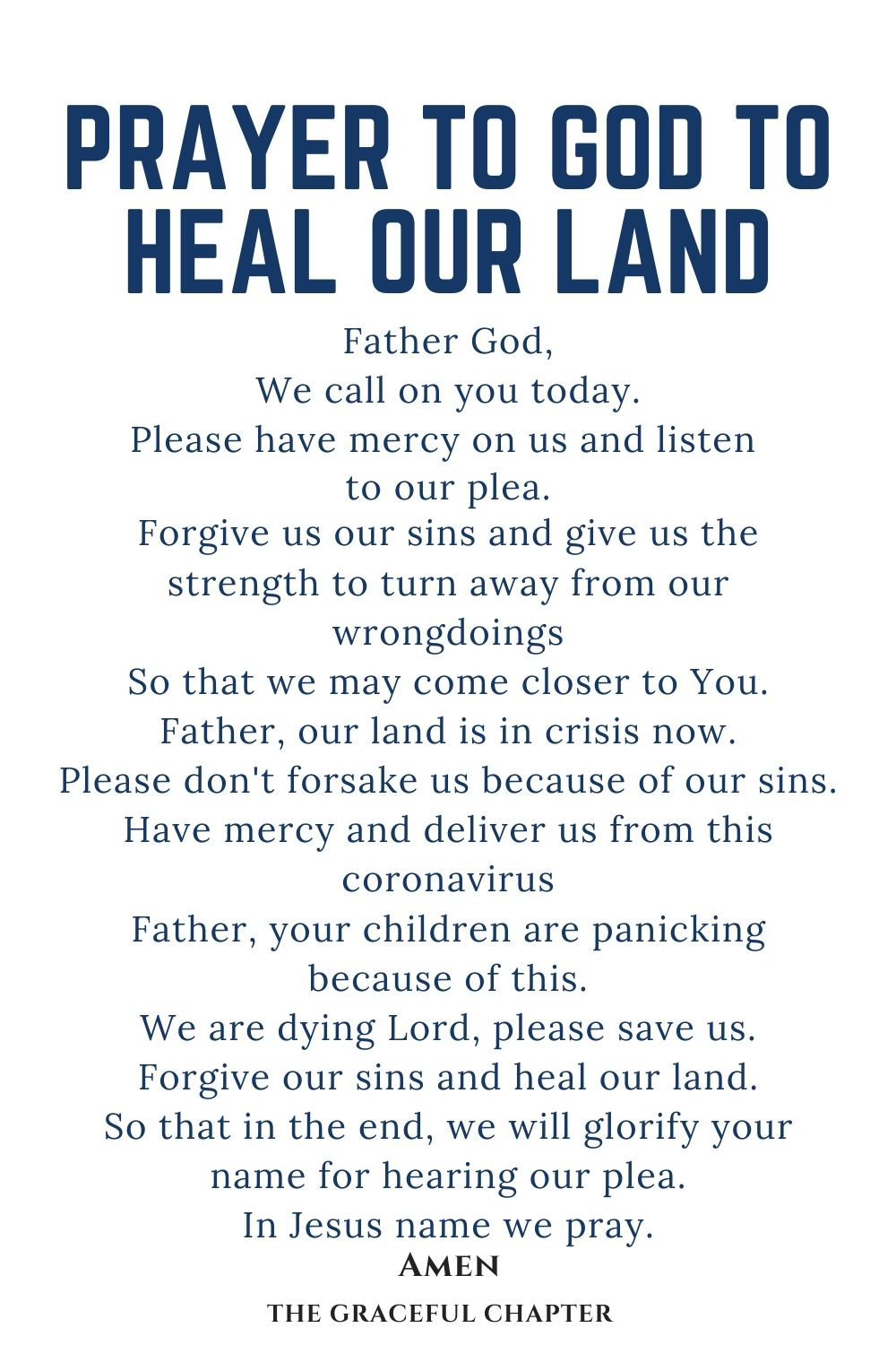 prayer to God to heal our land