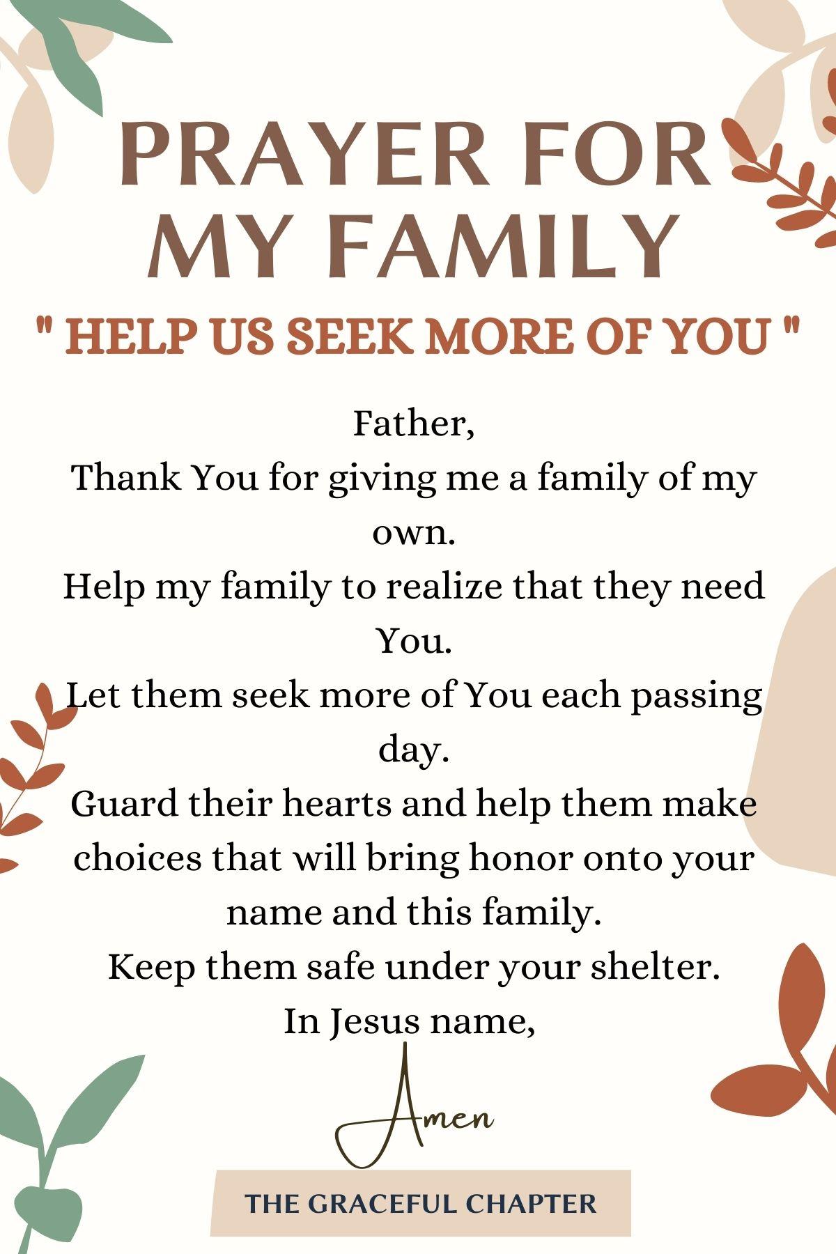 Help Us Seek More Of You