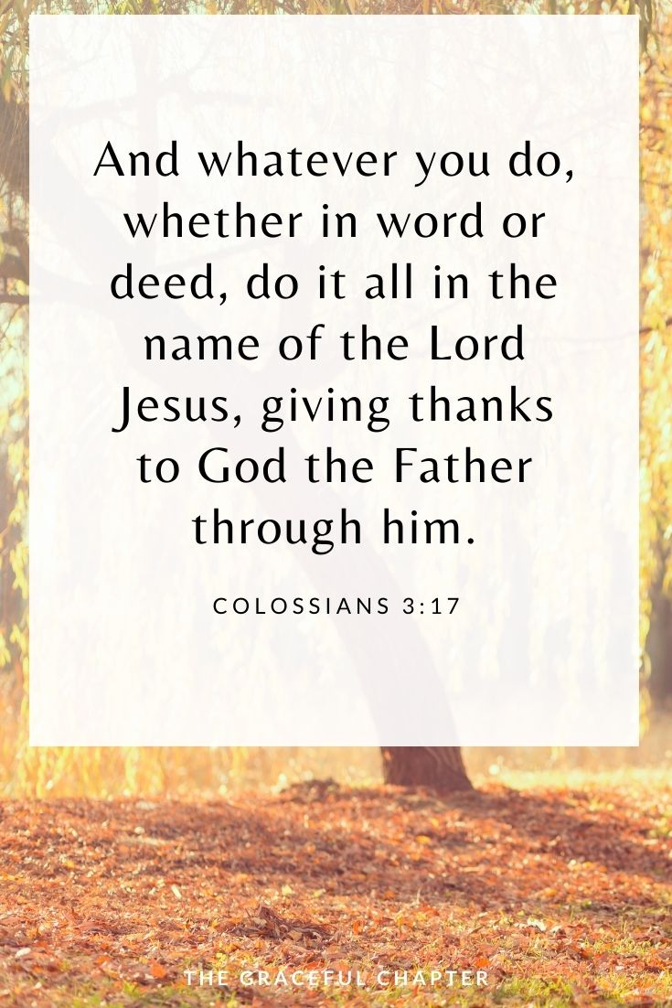 And whatever you do, whether in word or deed, do it all in the name of the Lord Jesus, giving thanks to God the Father through him.  Colossians 3:17