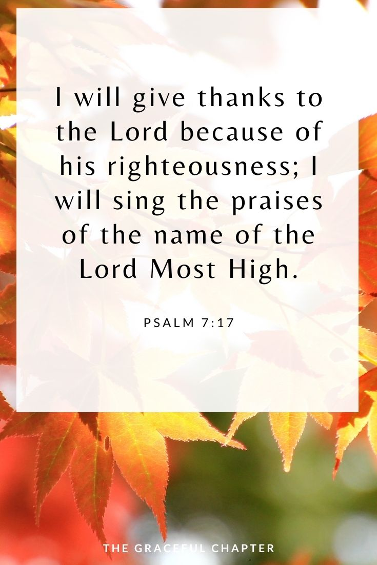 I will give thanks to the Lord because of his righteousness; I will sing the praises of the name of the Lord Most High. Psalm 7:17