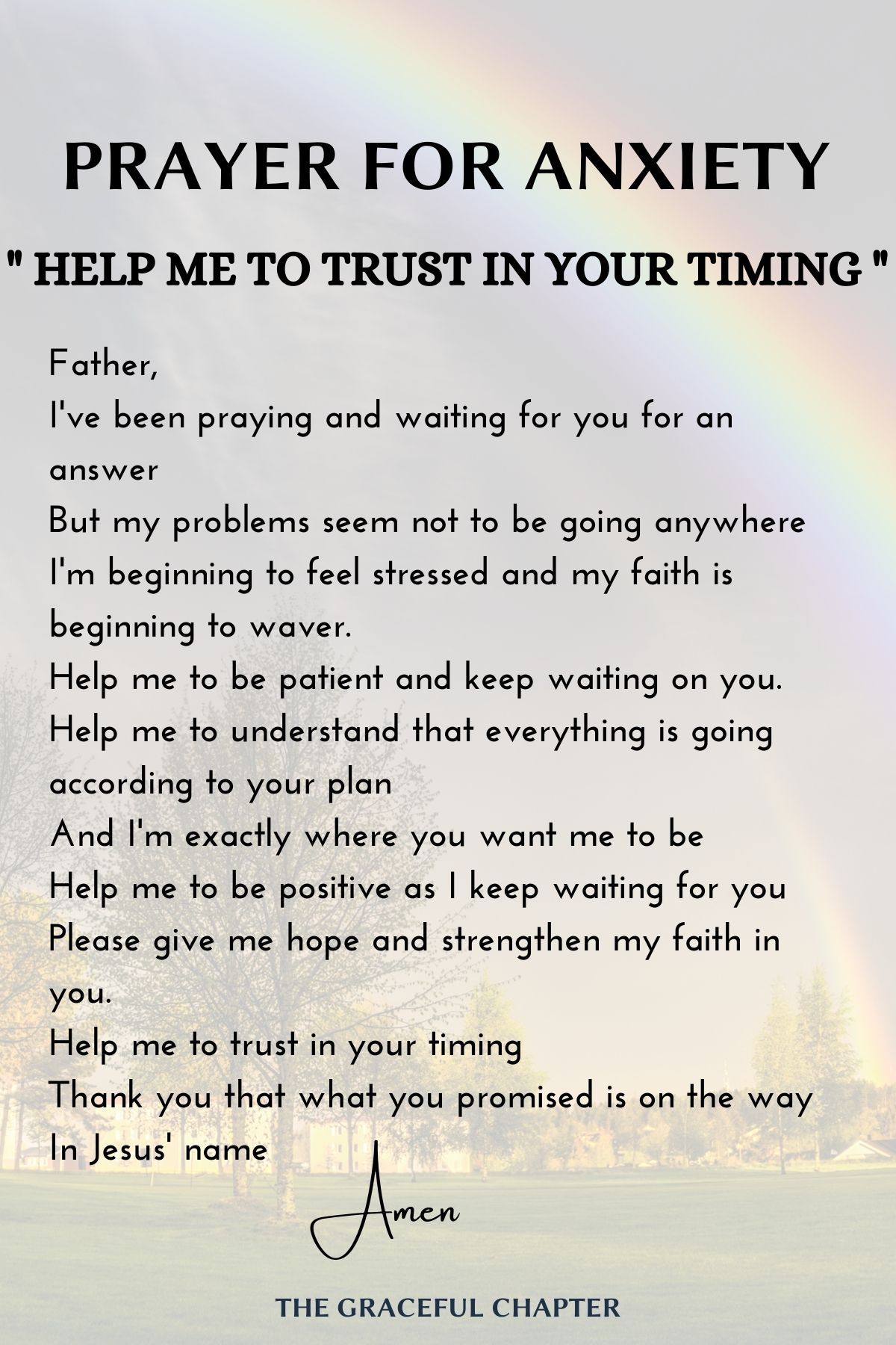 Prayer for anxiety - Help me to trust your timing