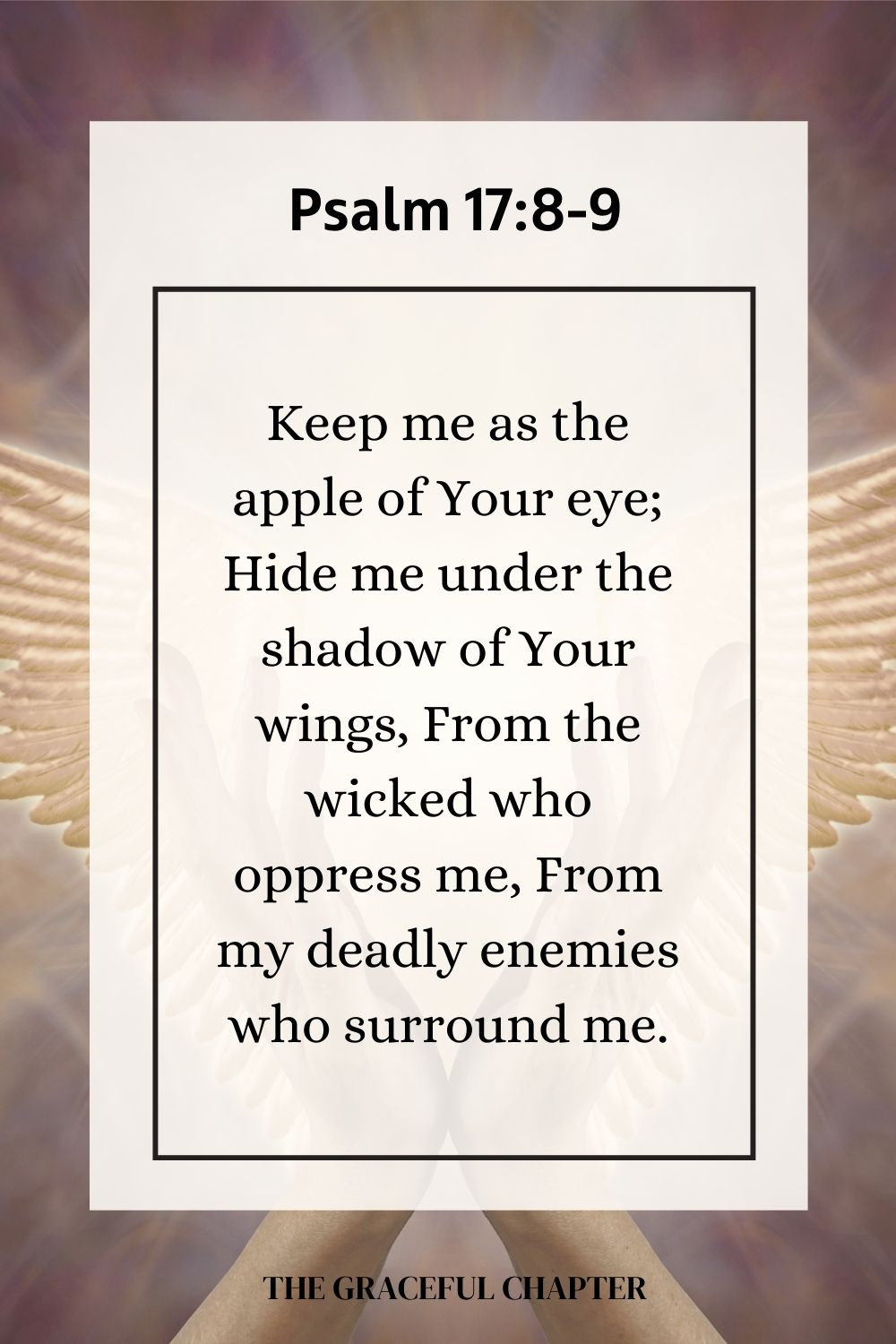 Keep me as the apple of Your eye; Hide me under the shadow of Your wings, From the wicked who oppress me, From my deadly enemies who surround me. Psalm 17:8-9