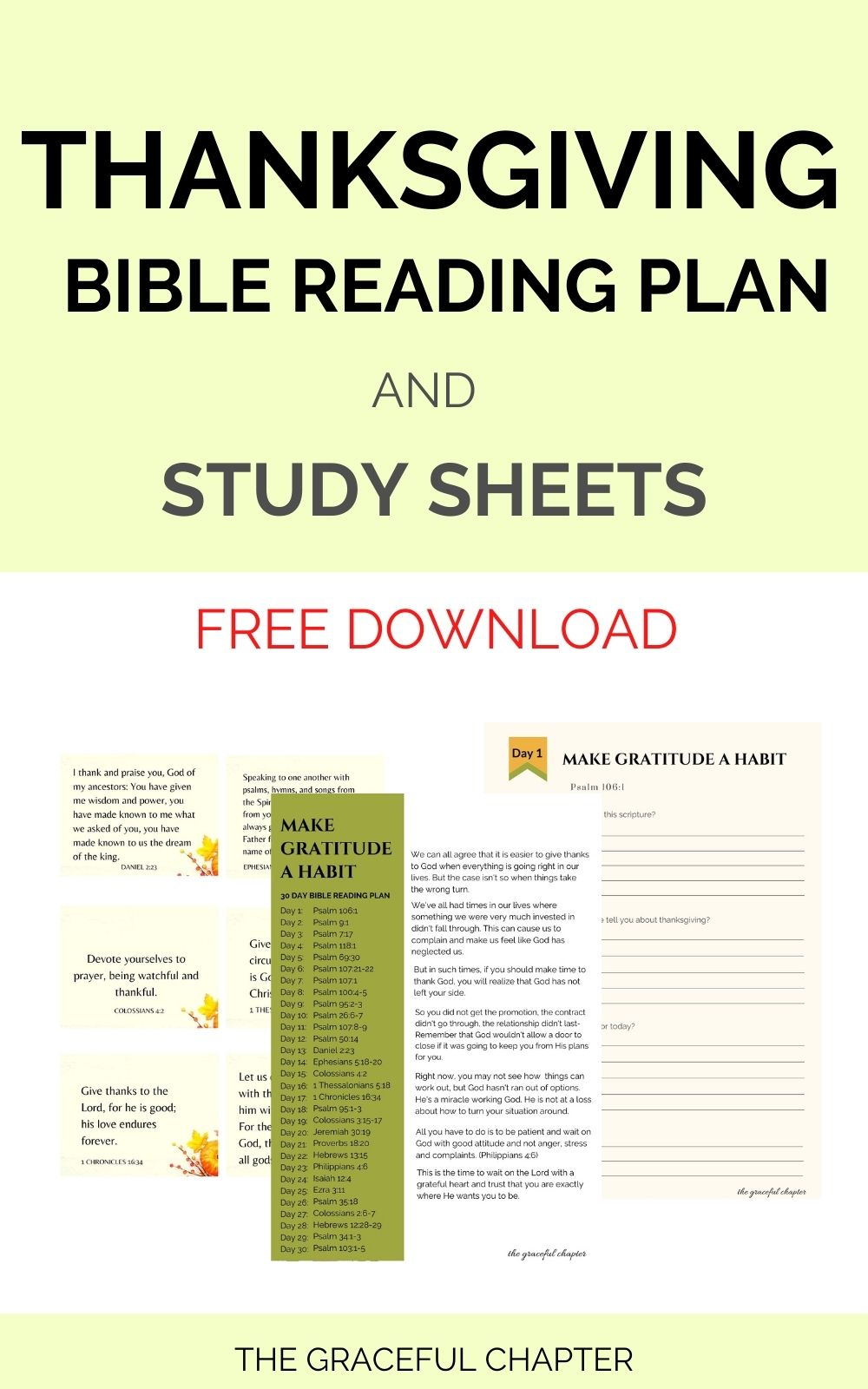 Thanksgiving bible reading plan and study sheets free printables