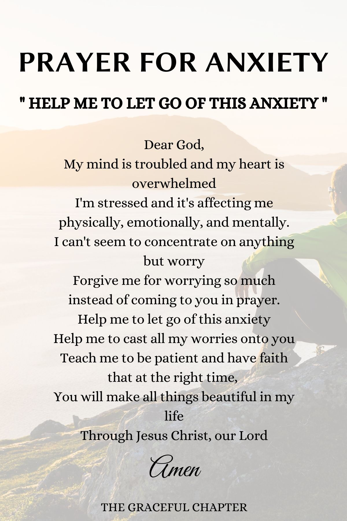 Anxiety prayer - Help me let go of this anxiety