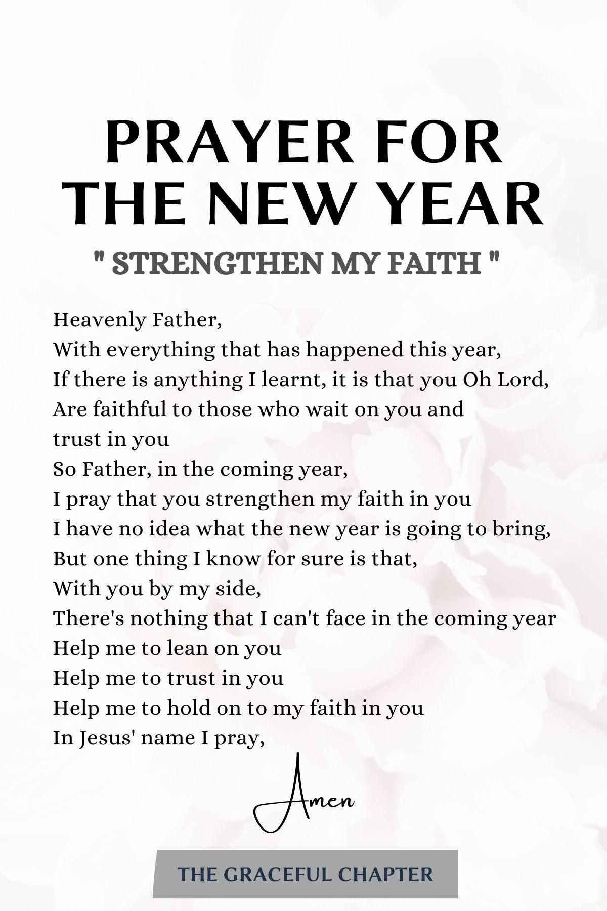 8. Prayer for the new year - Strengthen my faith