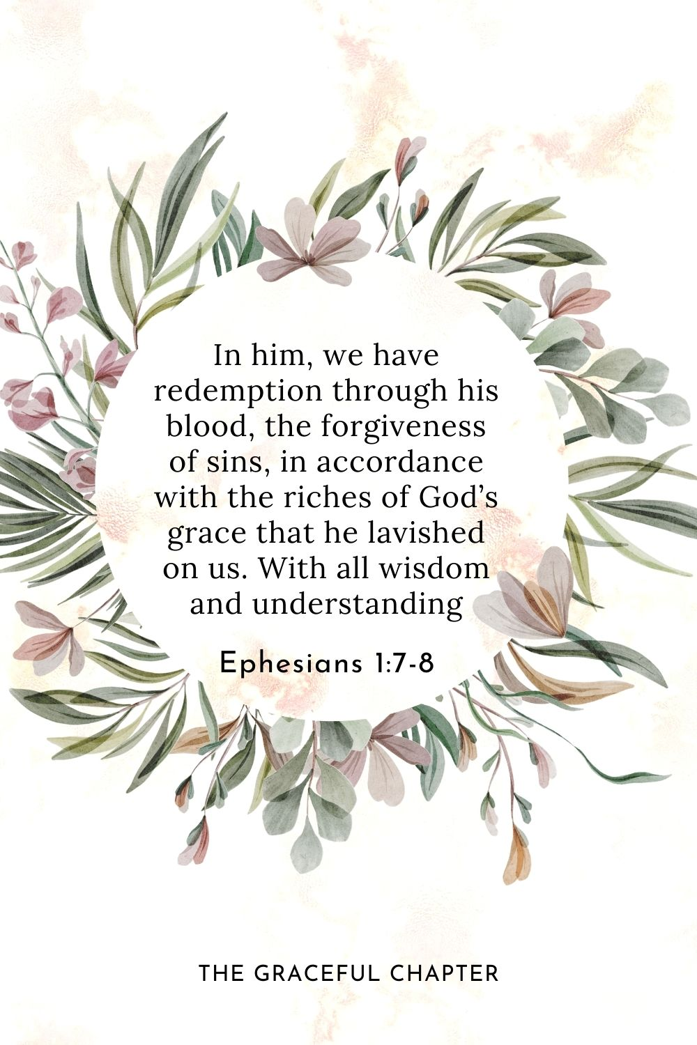 In him, we have redemption through his blood, the forgiveness of sins, in accordance with the riches of God's grace that he lavished on us. With all wisdom and understanding Ephesians 1:7-8