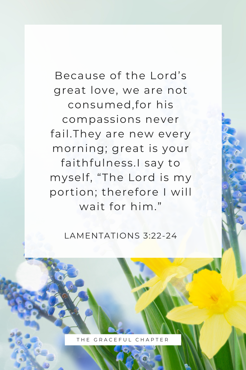"""I say to myself, """"The Lord is my portion; therefore I will wait for him."""" Lamentations 3:24"""