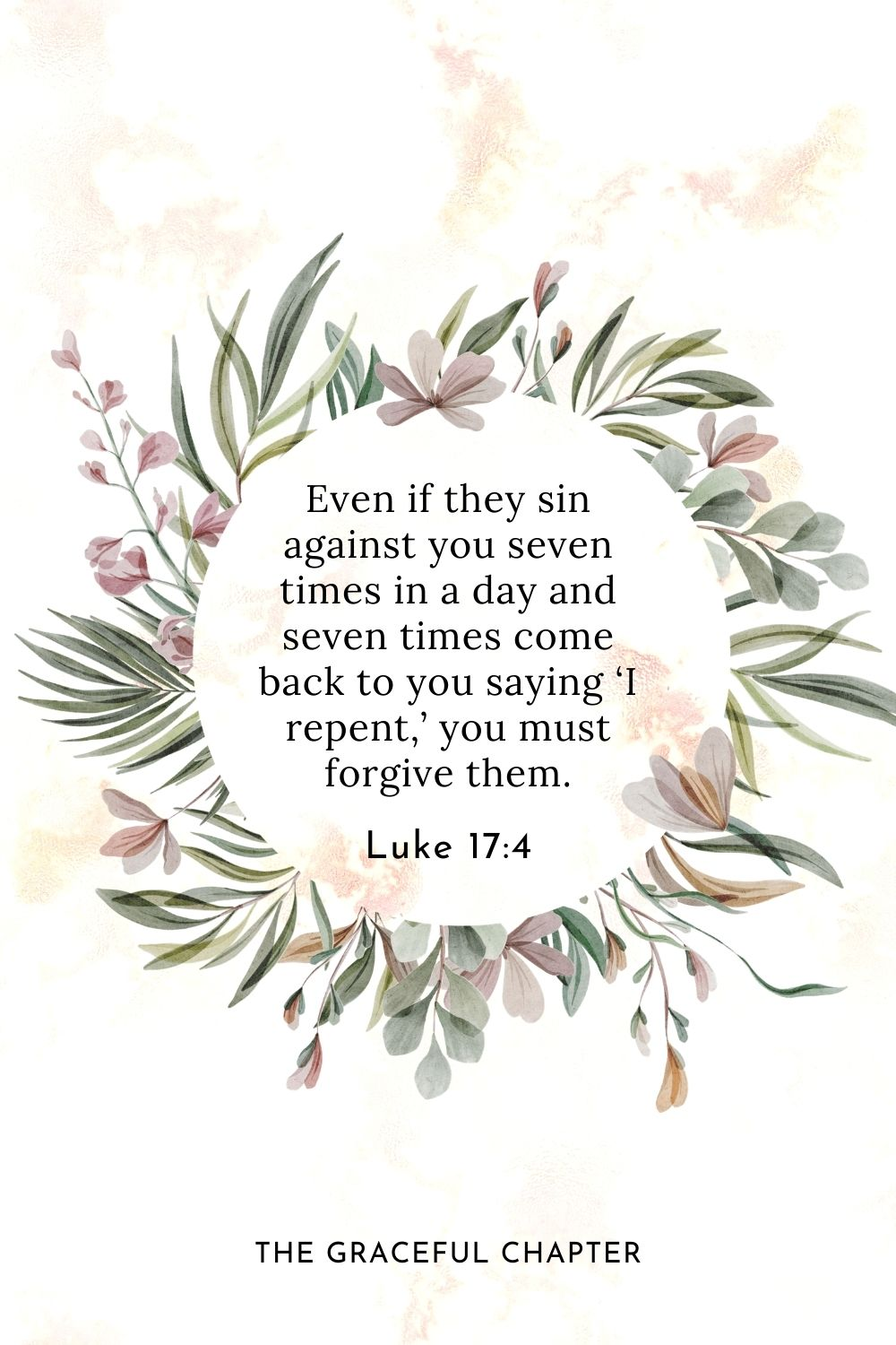 Even if they sin against you seven times in a day and seven times come back to you saying 'I repent,' you must forgive them. Luke 17:4