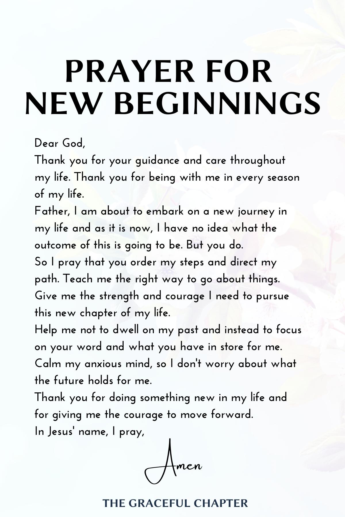 Prayer for new beginnings