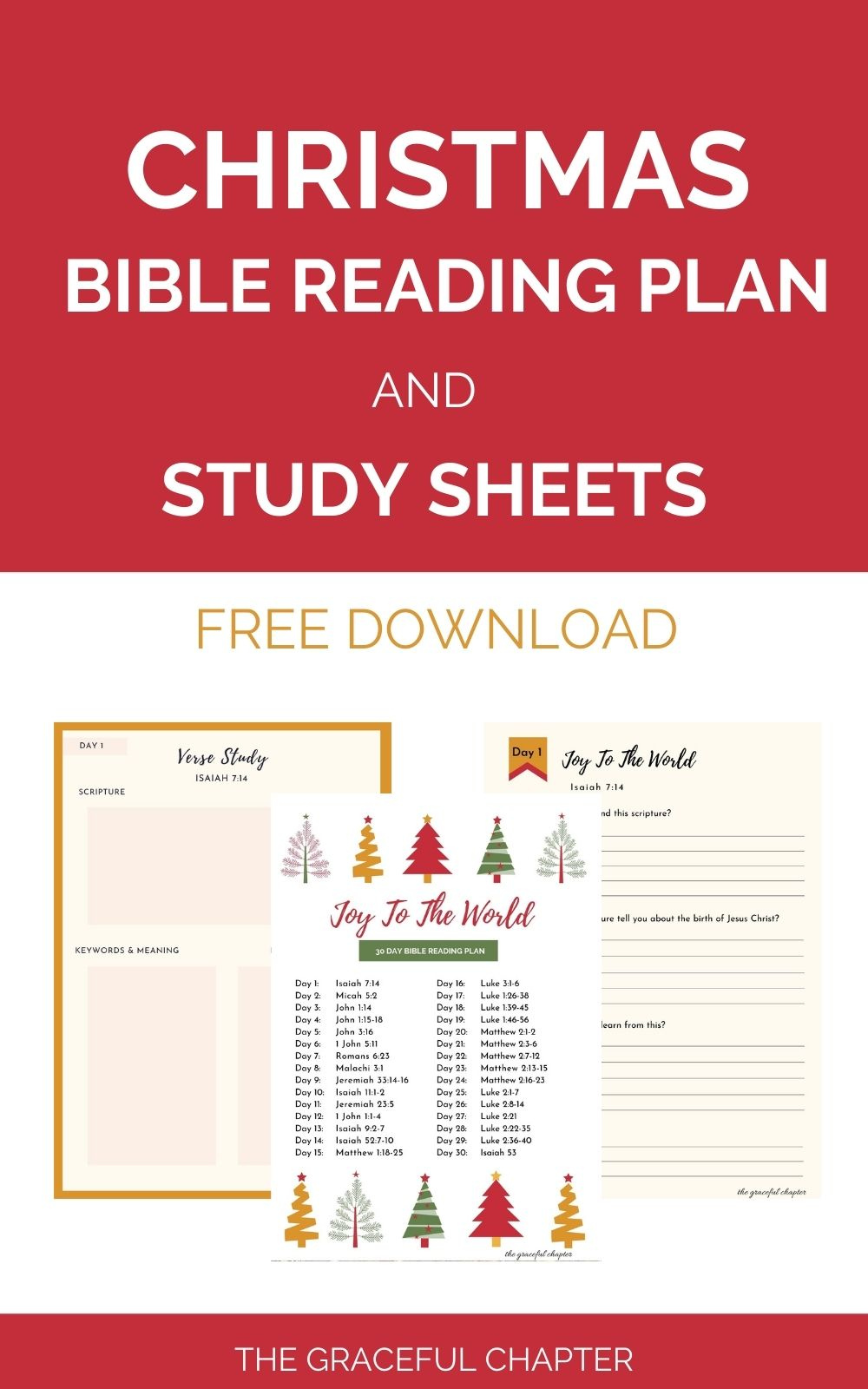 Christmas bible reading plan and study sheets