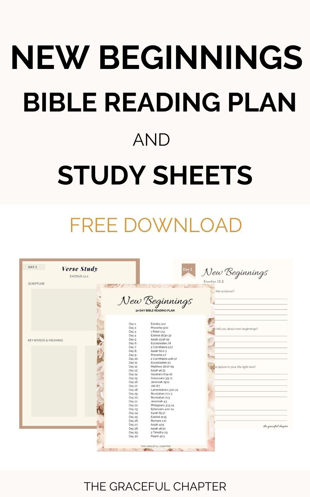 new beginnings bible reading plan free download
