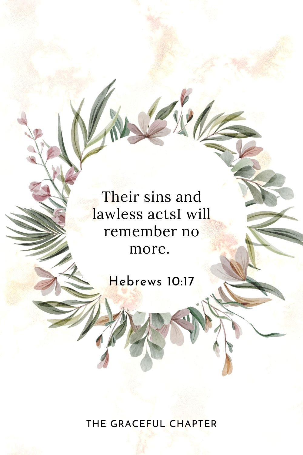 Their sins and lawless acts I will remember no more. Hebrews 10:17