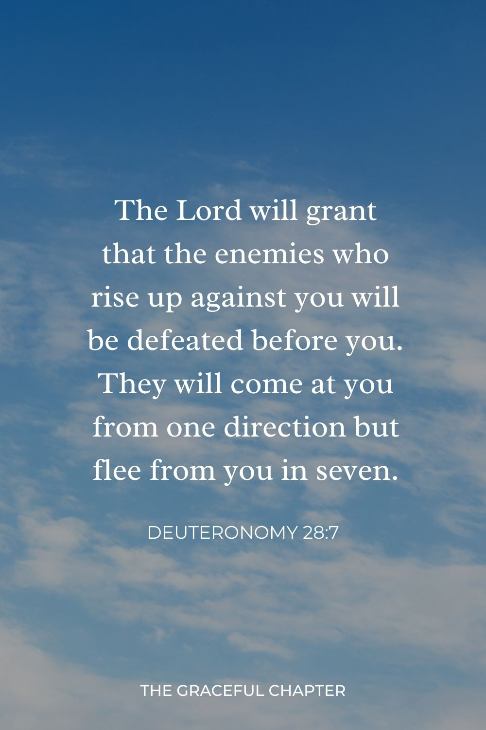 The Lord will grant that the enemies who rise up against you will be defeated before you. They will come at you from one direction but flee from you in seven. Deuteronomy 28:7