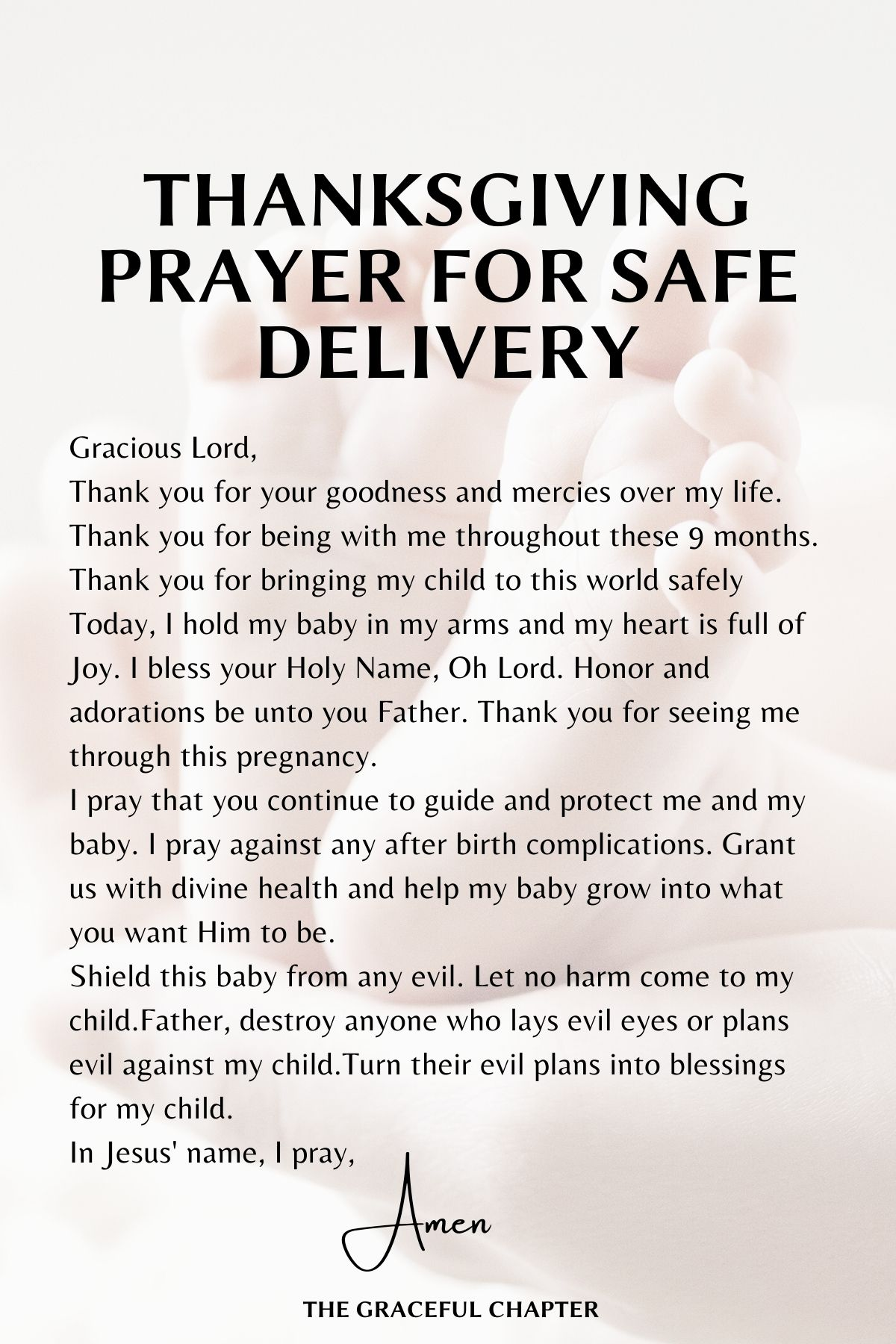 Thanksgiving prayer for safe delivery