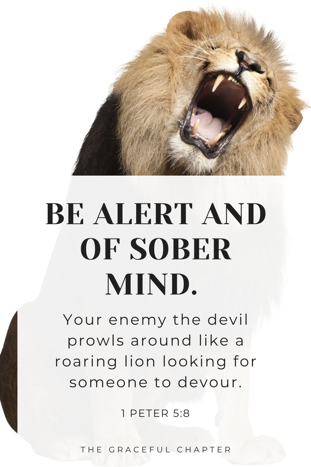 Be alert and of sober mind. Your enemy the devil prowls around like a roaring lion looking for someone to devour. 1 Peter 5:8