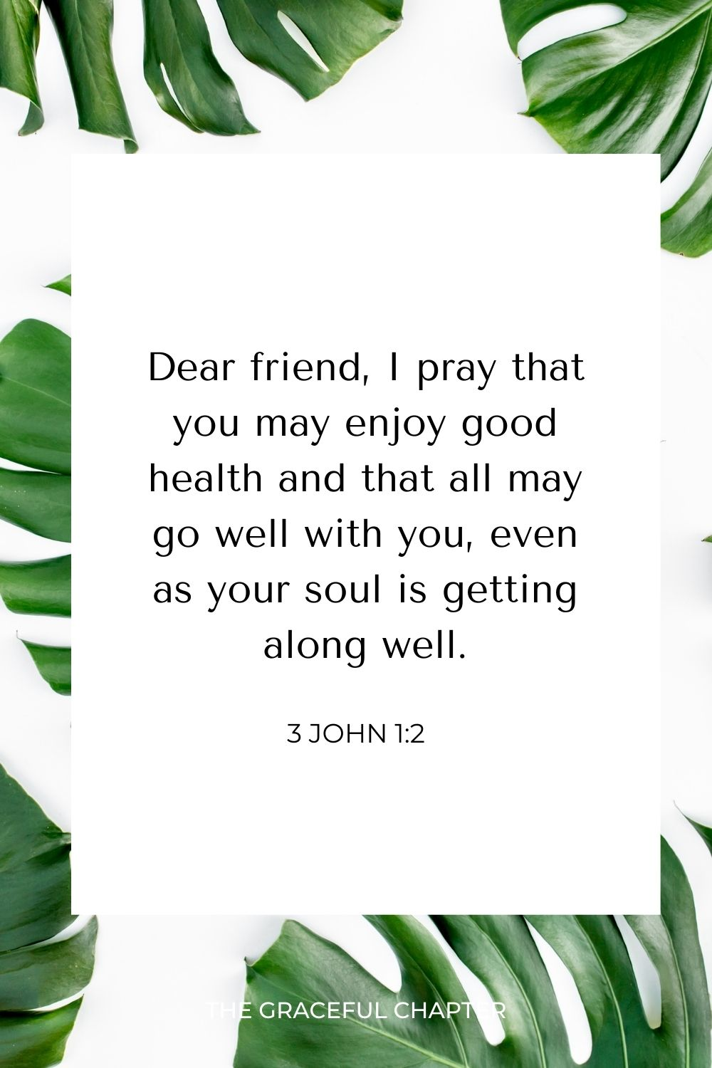 Dear friend, I pray that you may enjoy good health and that all may go well with you, even as your soul is getting along well. 3 John 1:2