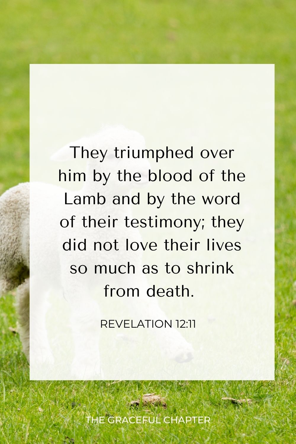 They triumphed over him by the blood of the Lamb and by the word of their testimony; they did not love their lives so much as to shrink from death. Revelation 12:11