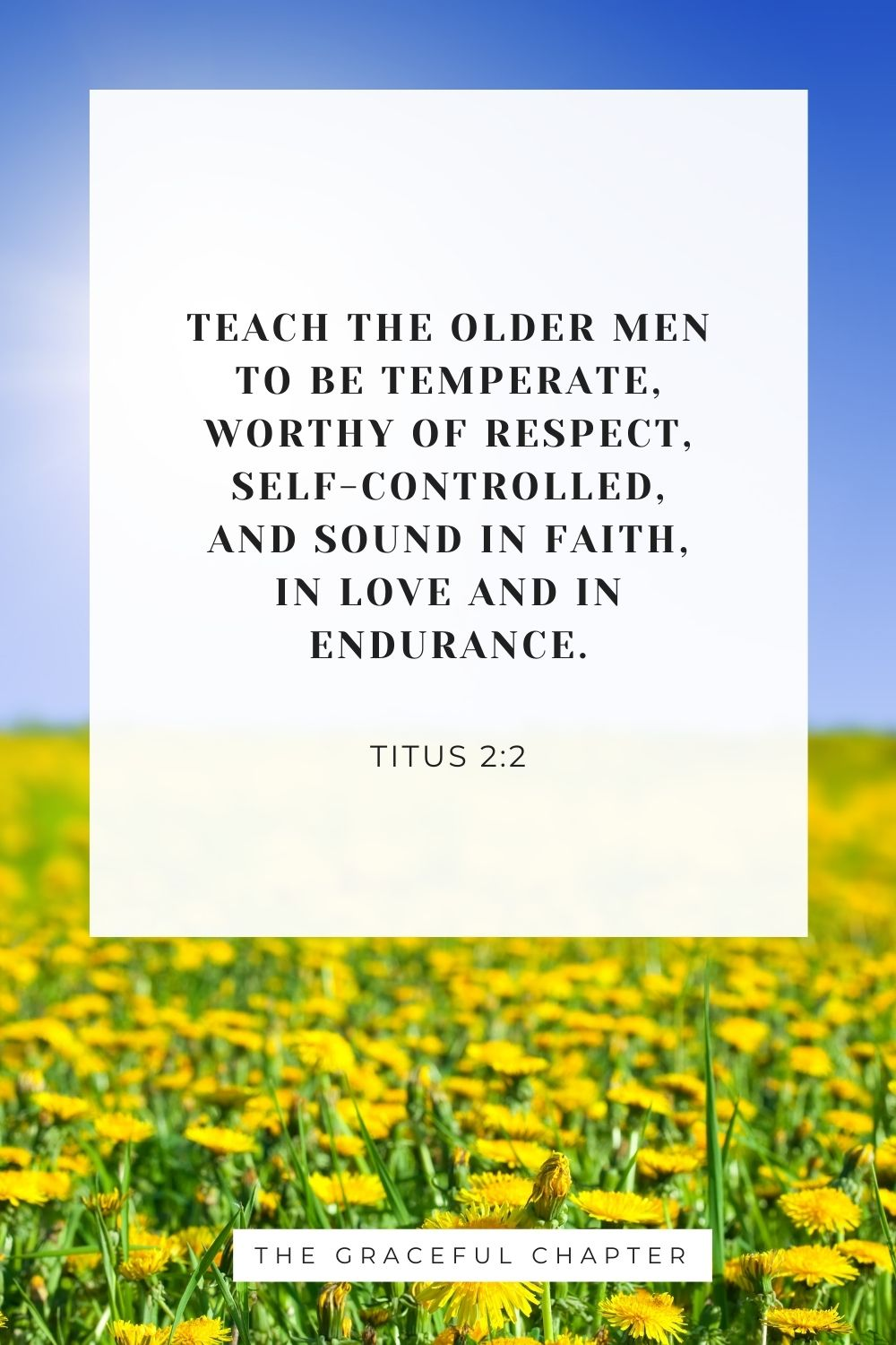Teach the older men to be temperate, worthy of respect, self-controlled, and sound in faith, in love and in endurance. Titus 2:2
