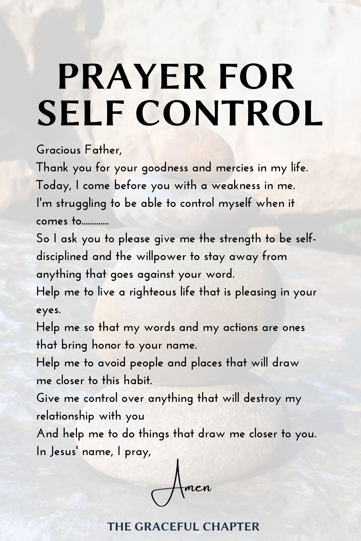 prayer for self control