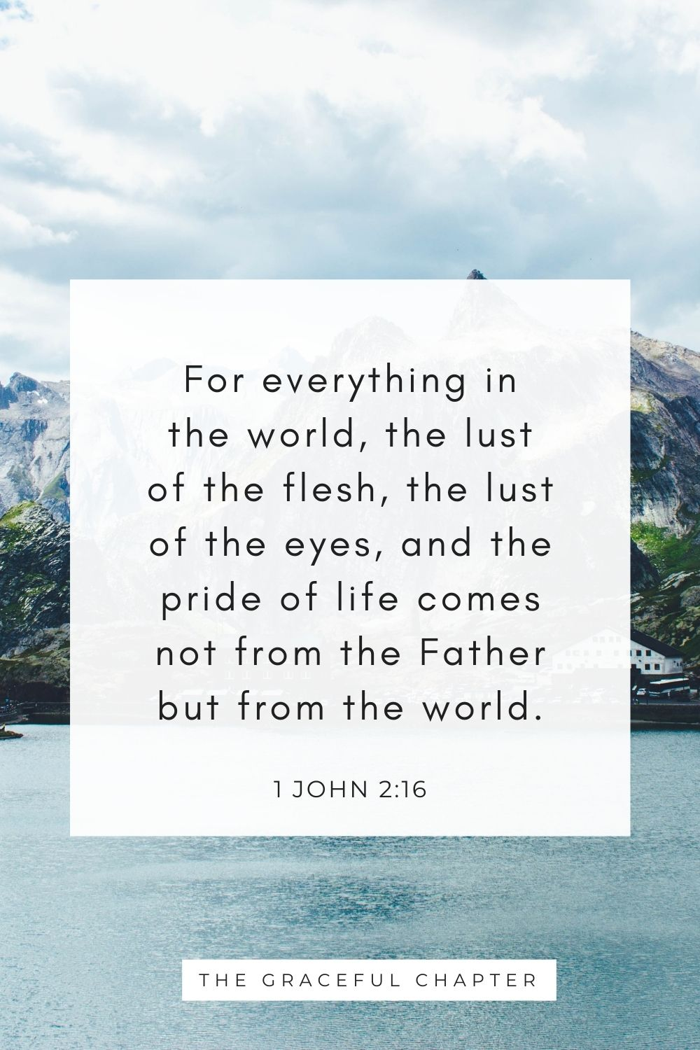 For everything in the world, the lust of the flesh, the lust of the eyes, and the pride of life comes not from the Father but from the world. 1 John 2:16