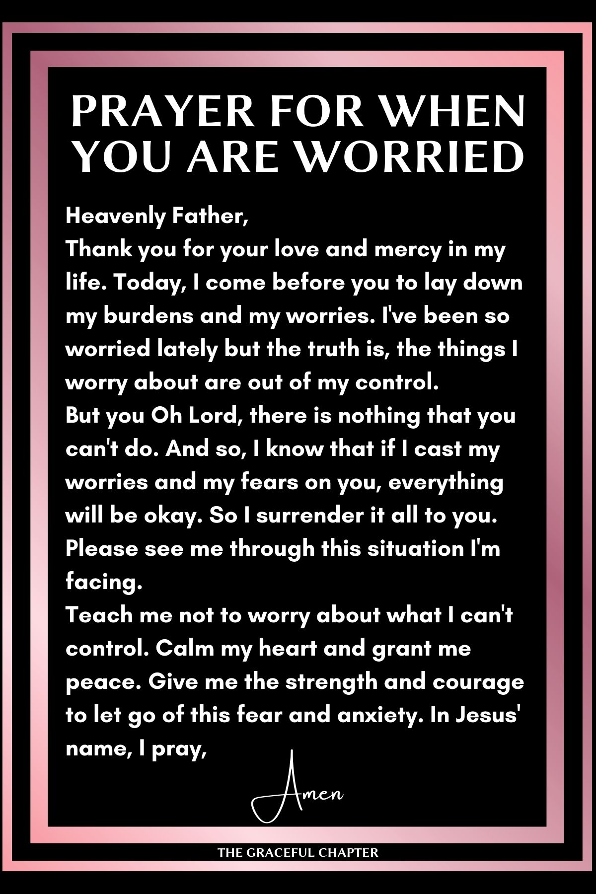 Prayer for when you are worried