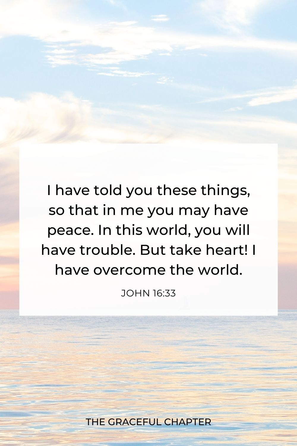 I have told you these things, so that in me you may have peace. In this world, you will have trouble. But take heart! I have overcome the world. John 16:33