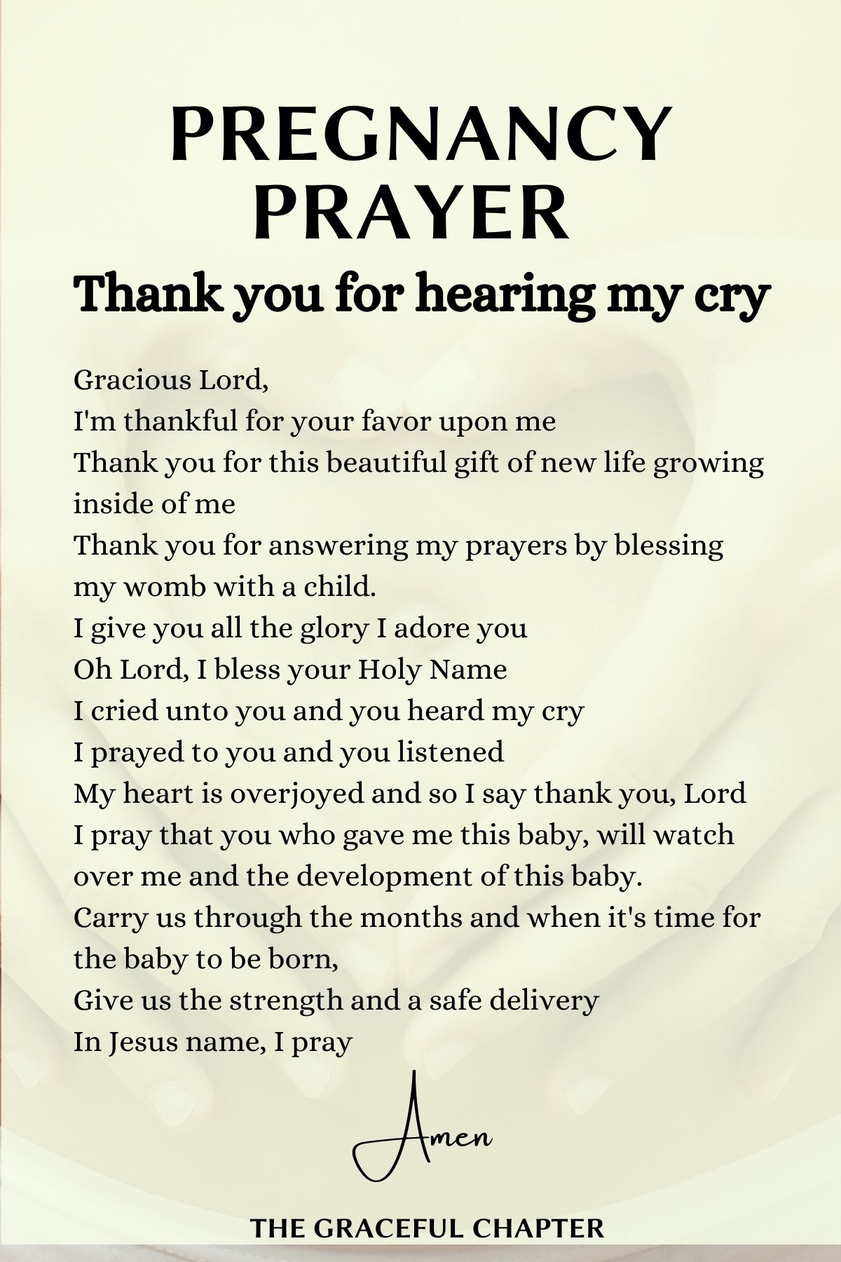 Pregnancy prayer - Thank you for hearing my cry
