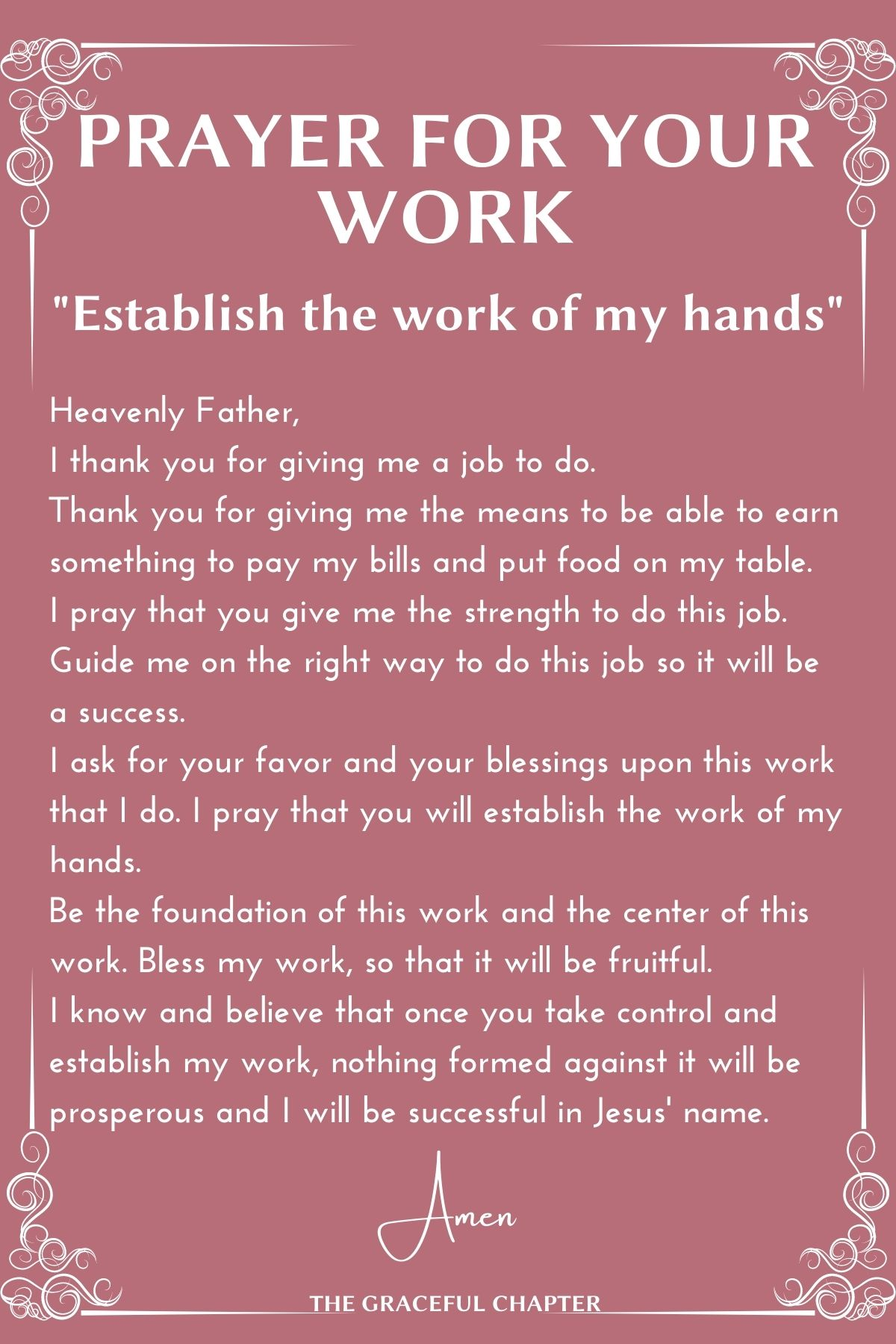 Prayer for your work - Establish the work of my hands