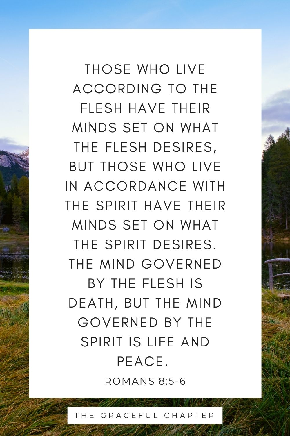 The mind governed by the flesh is death, but the mind governed by the Spirit is life and peace. Romans 8:5-6