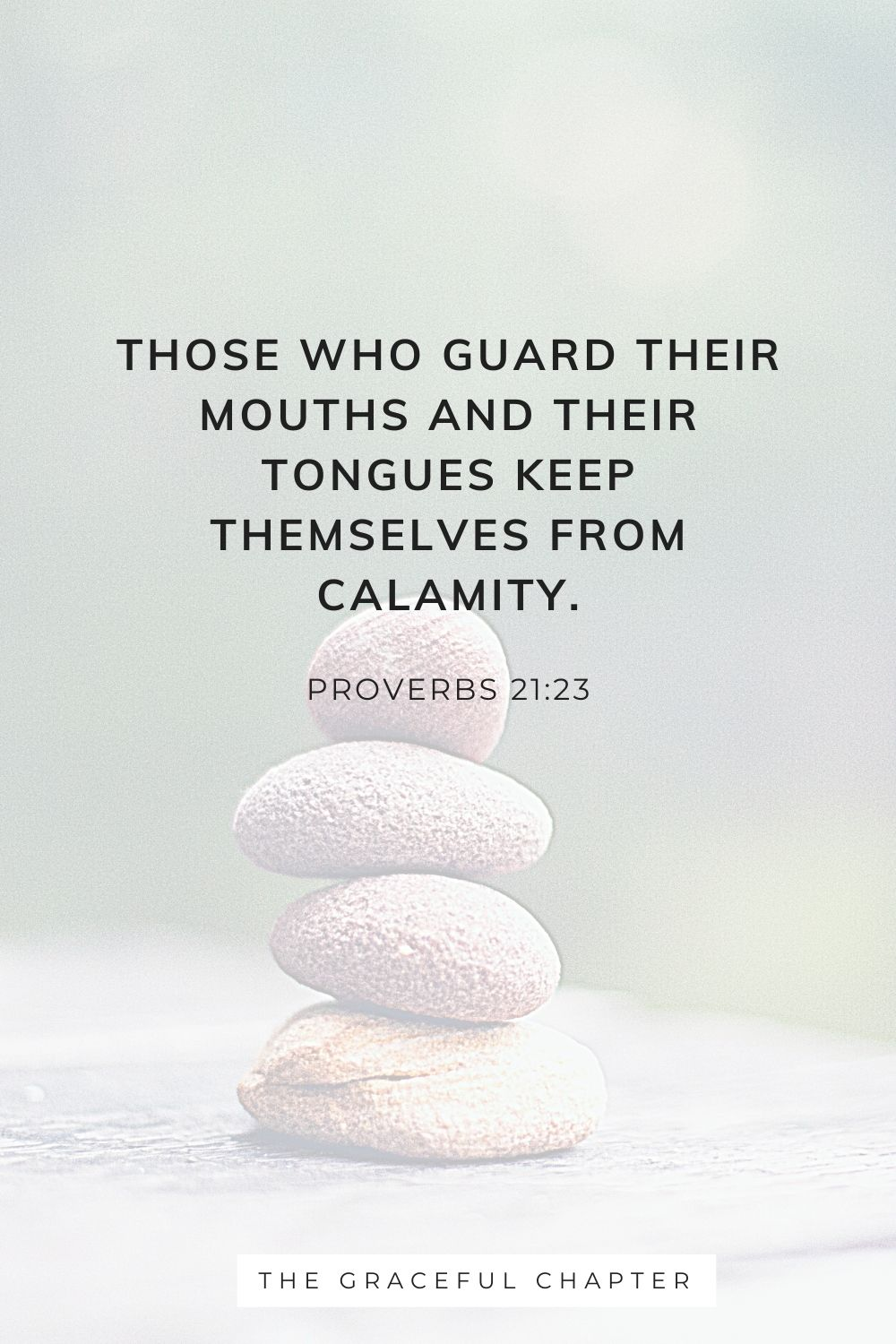 Those who guard their mouths and their tongues keep themselves from calamity. Proverbs 21:23