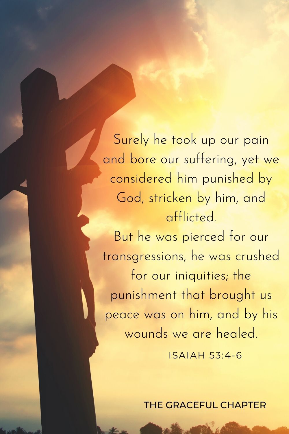 Surely he took up our pain and bore our suffering, yet we considered him punished by God, stricken by him, and afflicted. But he was pierced for our transgressions, he was crushed for our iniquities; the punishment that brought us peace was on him, and by his wounds, we are healed. Isaiah 53:4-6