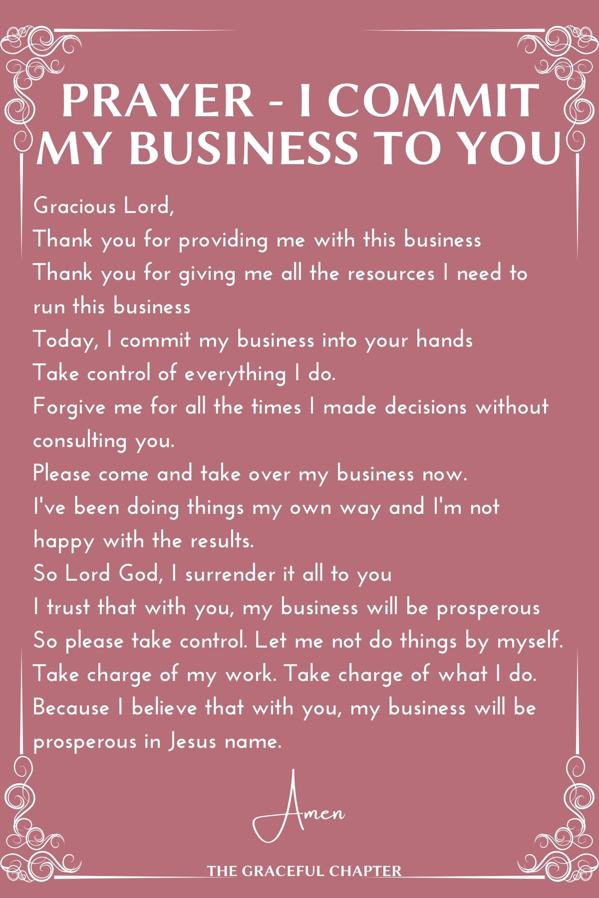 Prayer - I commit my business to you