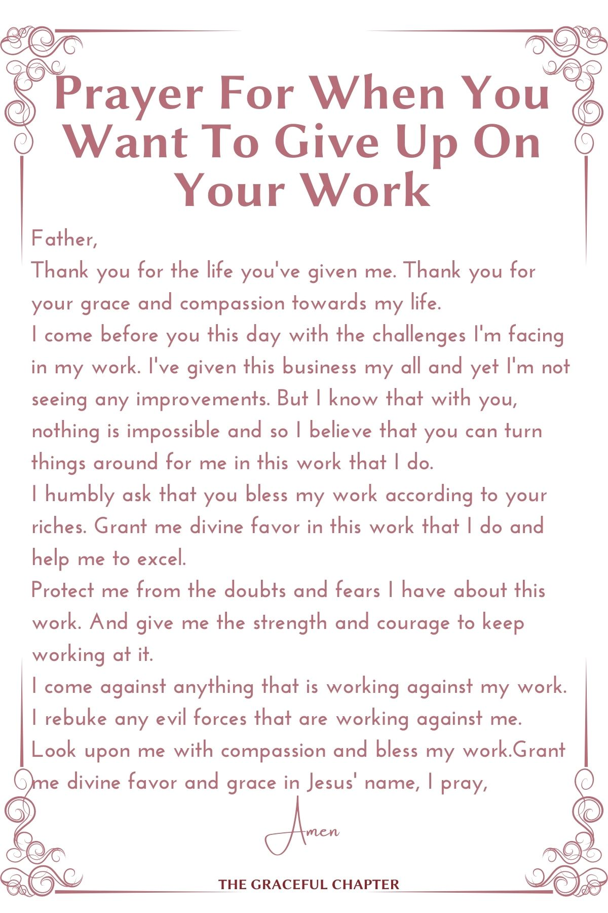 Prayer for when you want to give up on your work