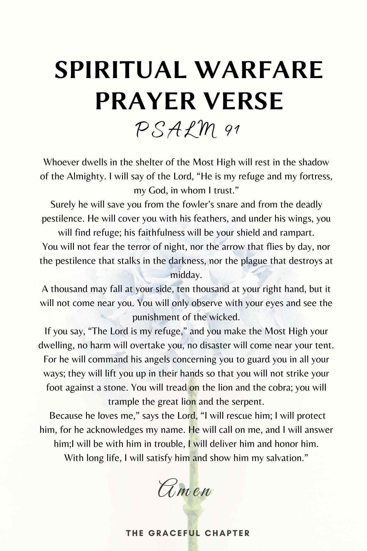 Psalm 91 spiritual warfare prayer verse