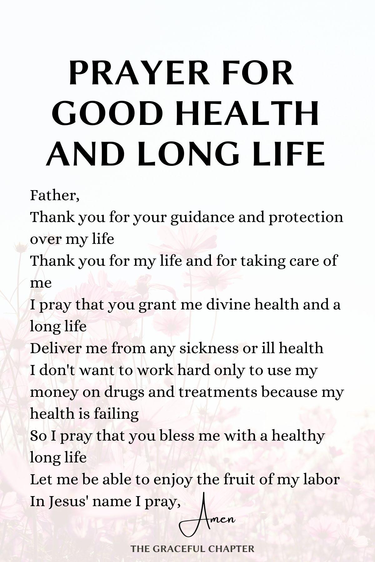 Prayer for good health and long life