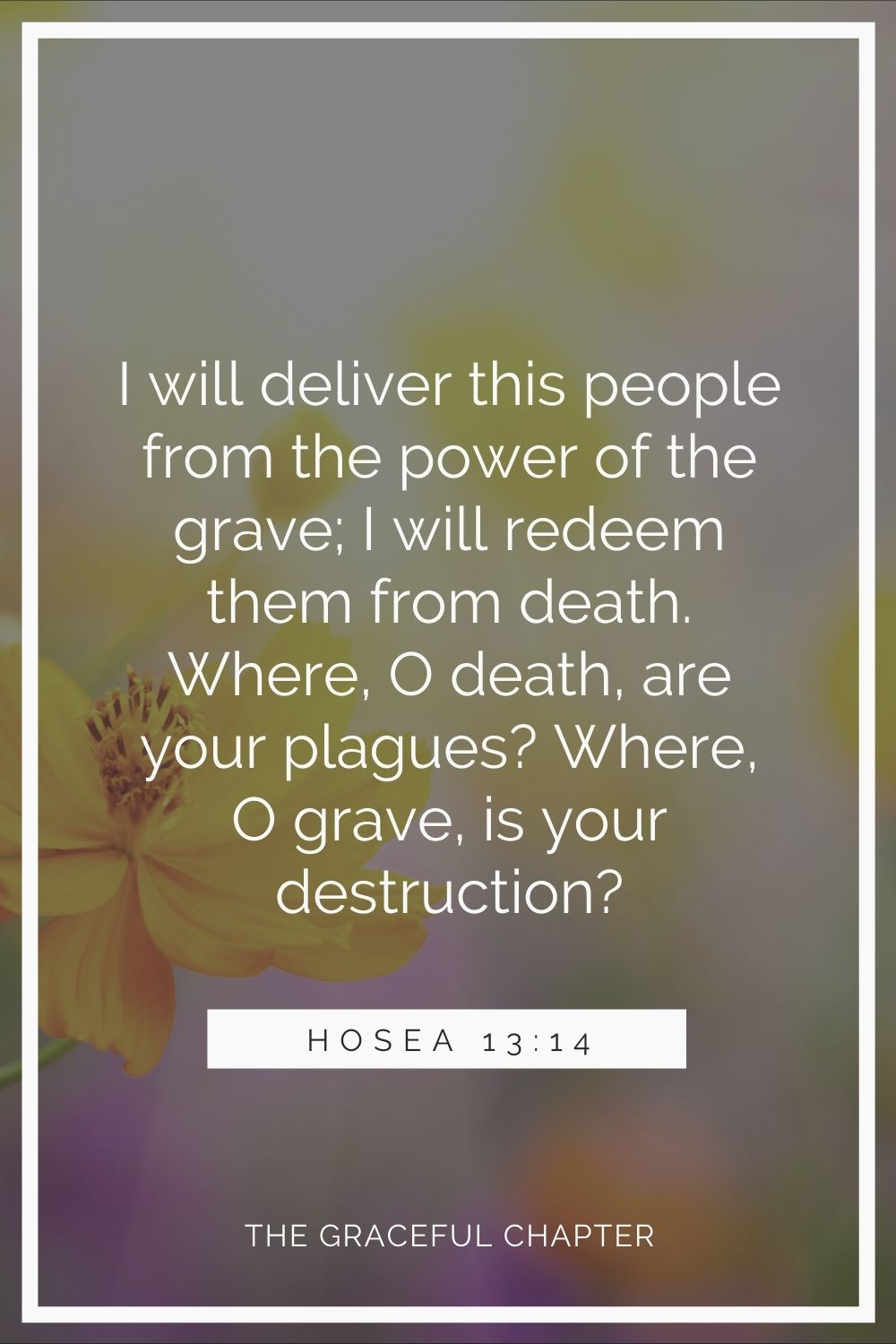 I will deliver this people from the power of the grave; I will redeem them from death. Where, O death, are your plagues? Where, O grave, is your destruction? Hosea 13:14