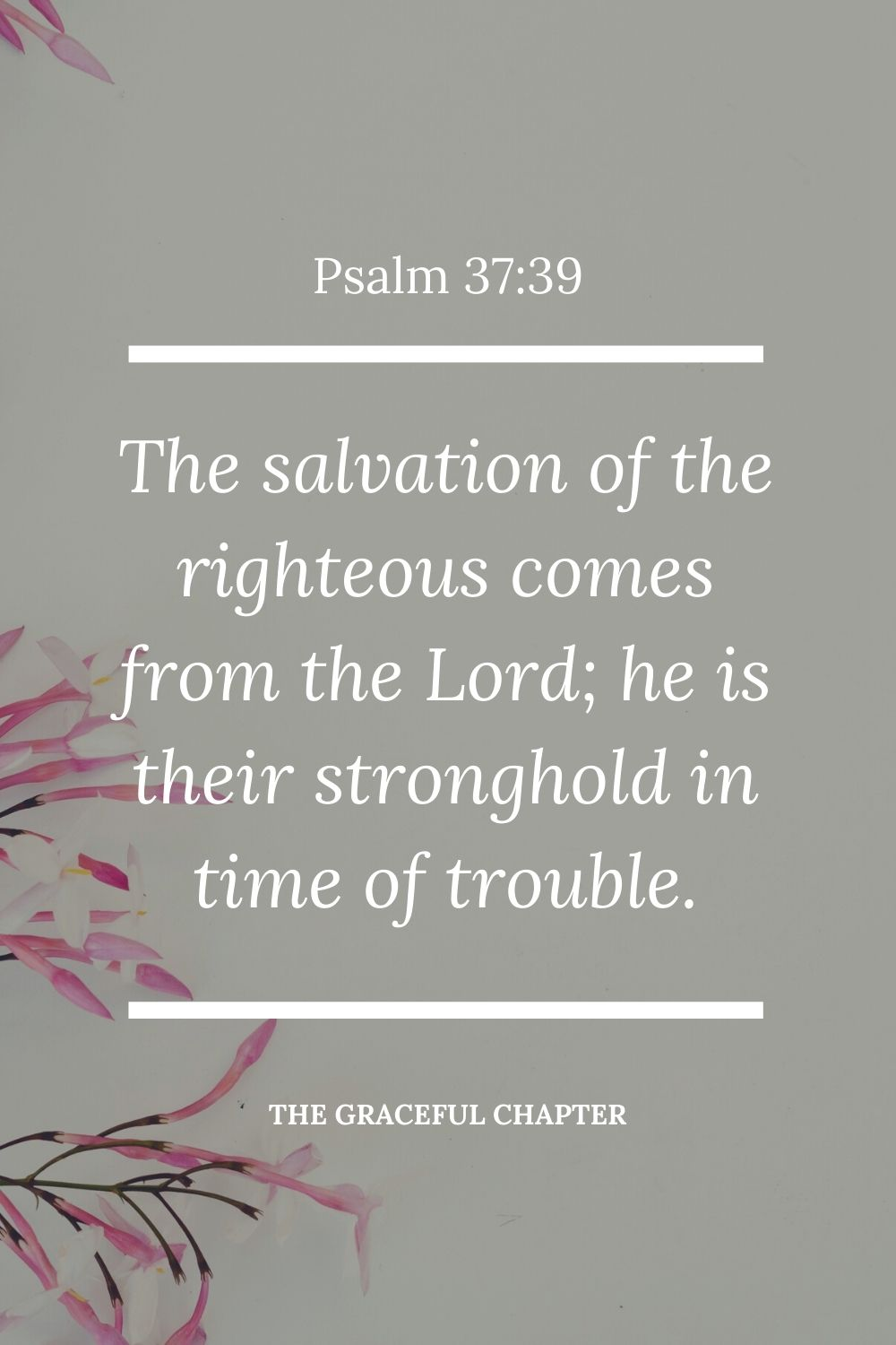 The salvation of the righteous comes from the Lord; he is their stronghold in time of trouble. Psalm 37:39