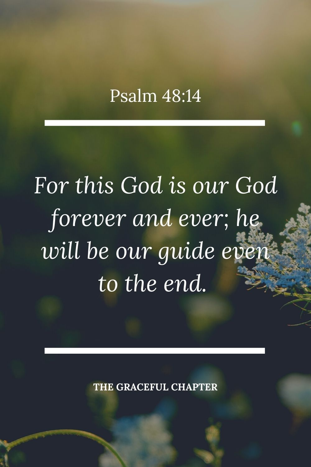 For this God is our God forever and ever;  he will be our guide even to the end.  Psalm 48:14