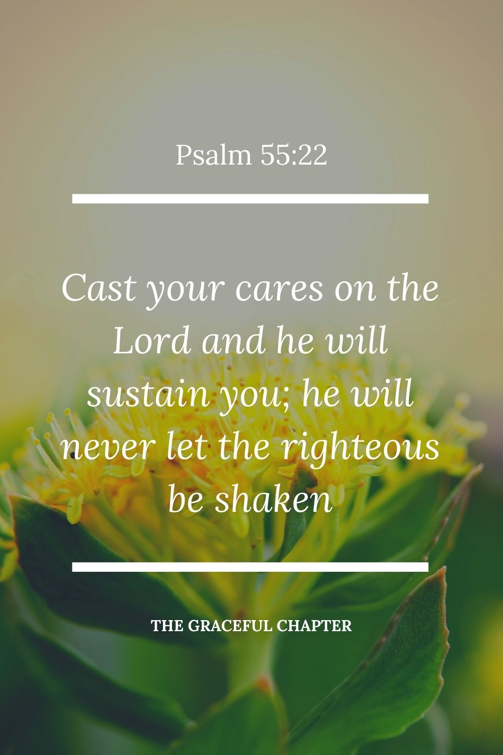 Cast your cares on the Lord  and he will sustain you; he will never let the righteous be shaken Psalm 55:22.