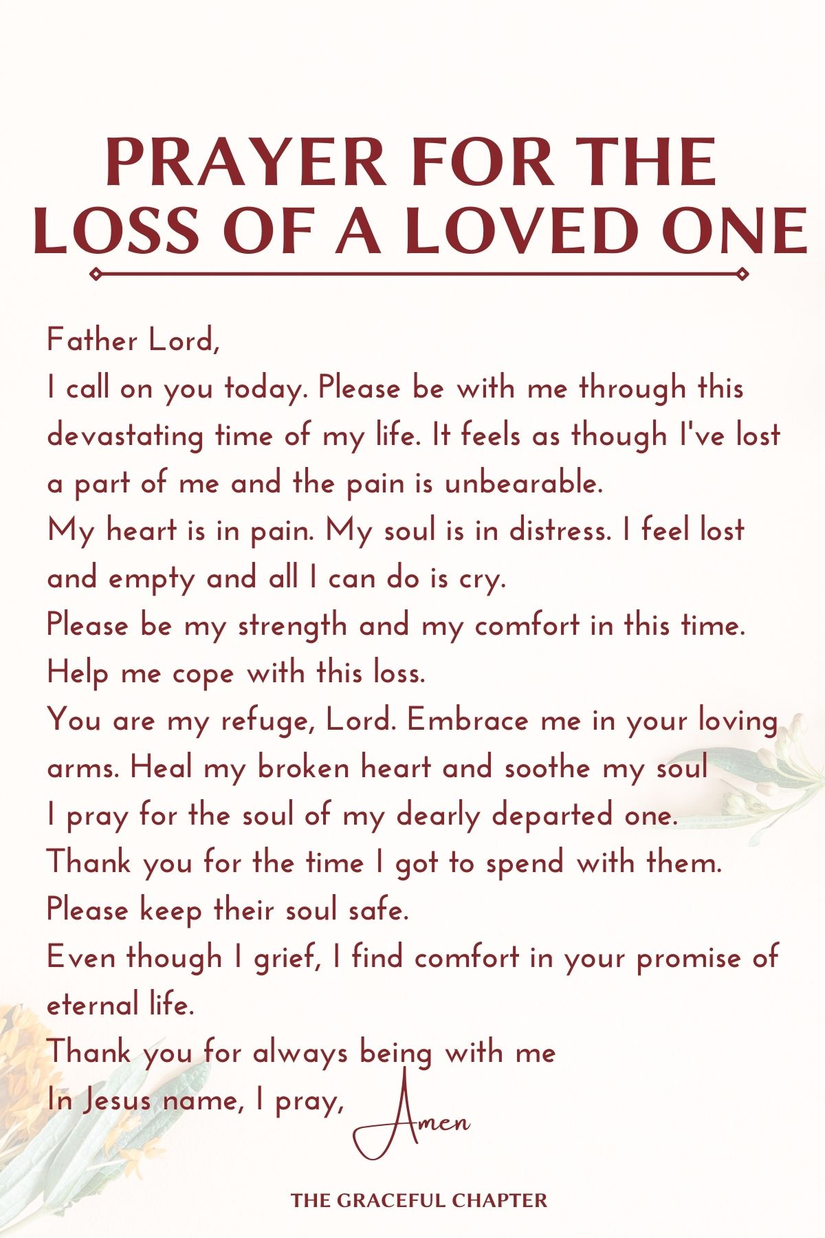Prayer for the loss of a loved one