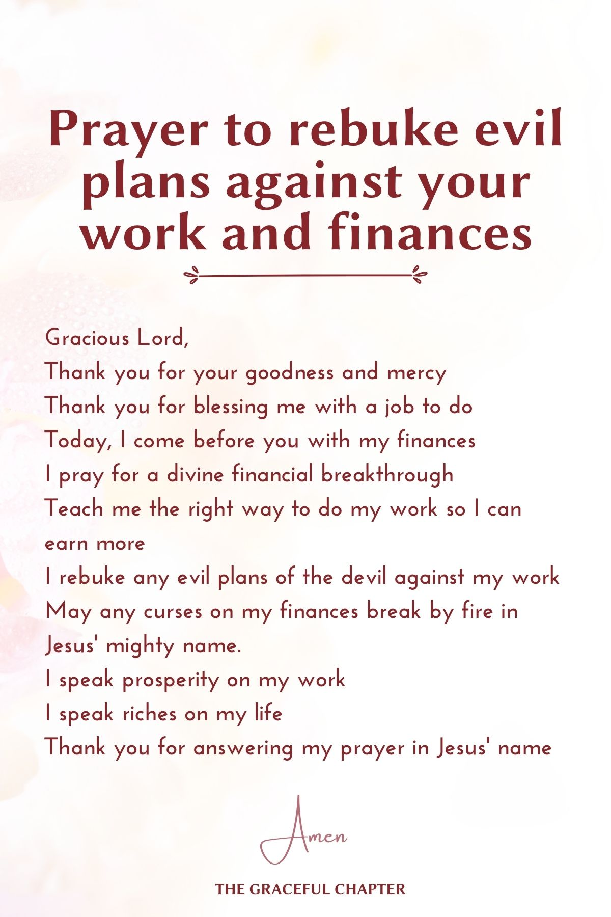 Prayer to rebuke evil plans against your work and finances