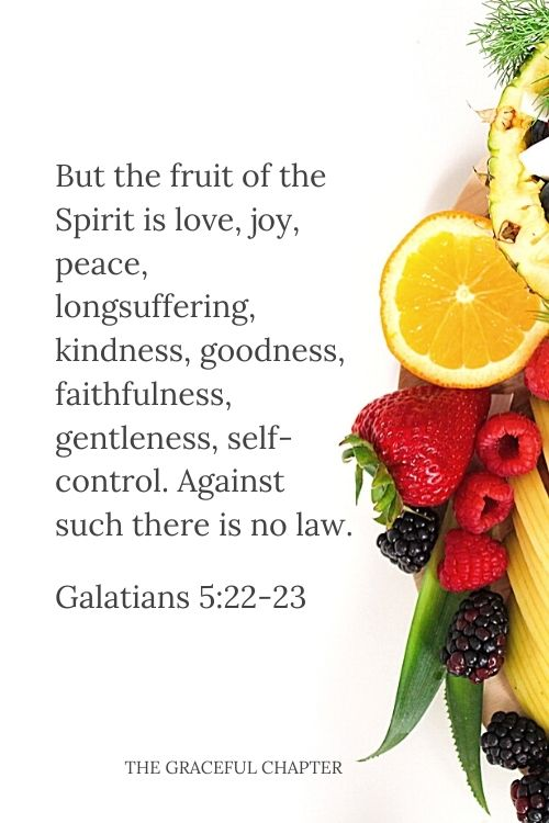 But the fruit of the Spirit is love, joy, peace, longsuffering, kindness, goodness, faithfulness, gentleness, self-control. Against such there is no law. Galatians 5:22-23