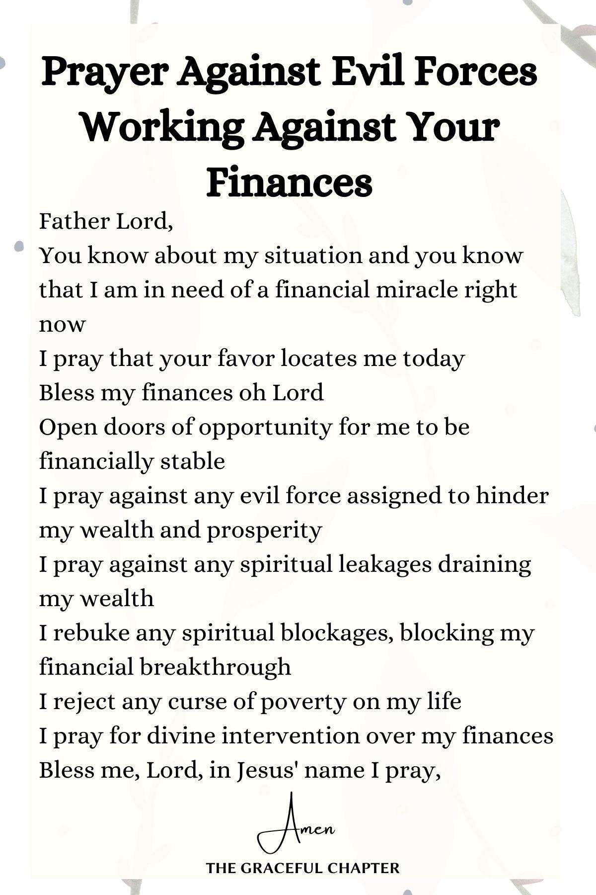 Prayer against evil forces working against your finances