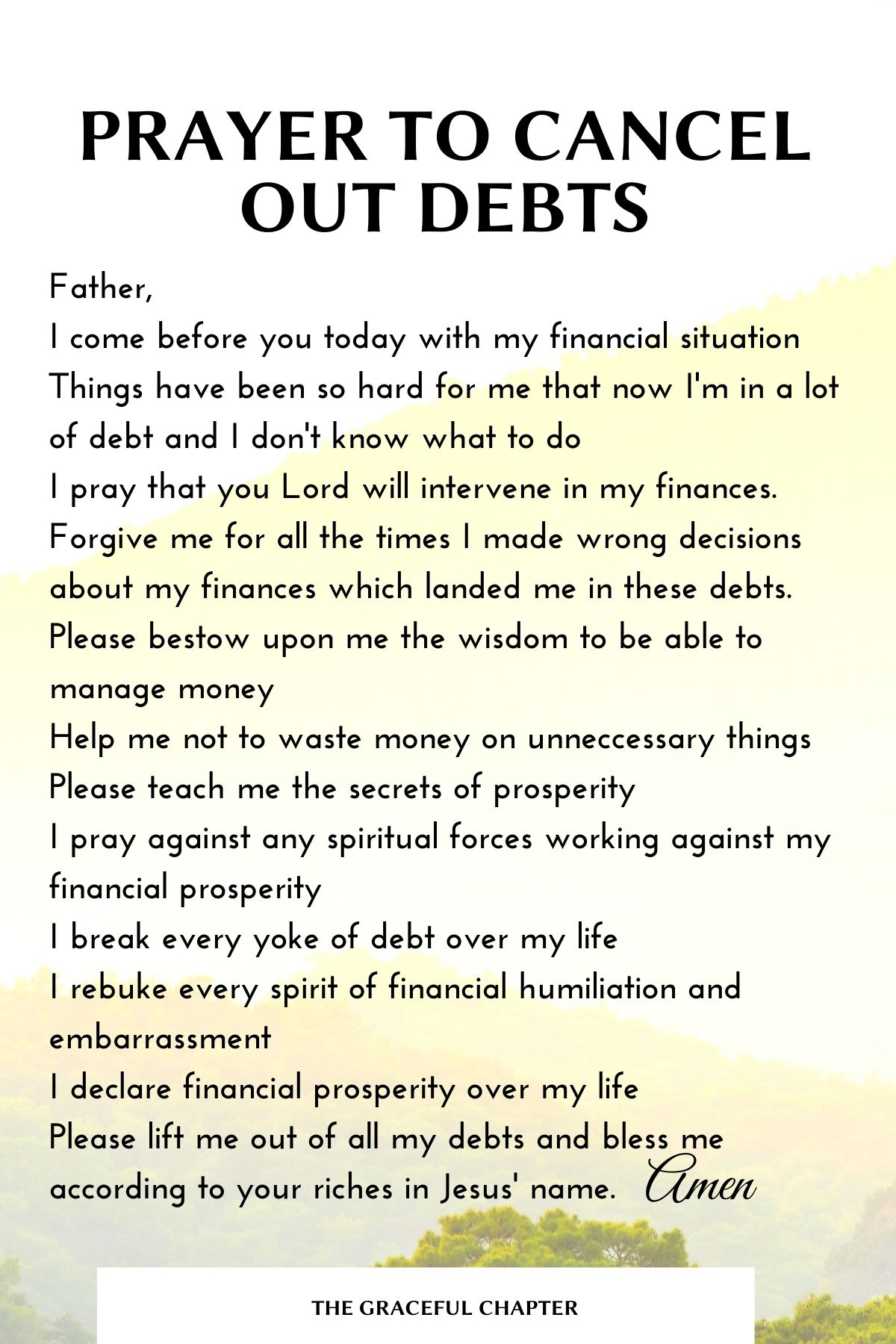 Prayer to cancel out debts