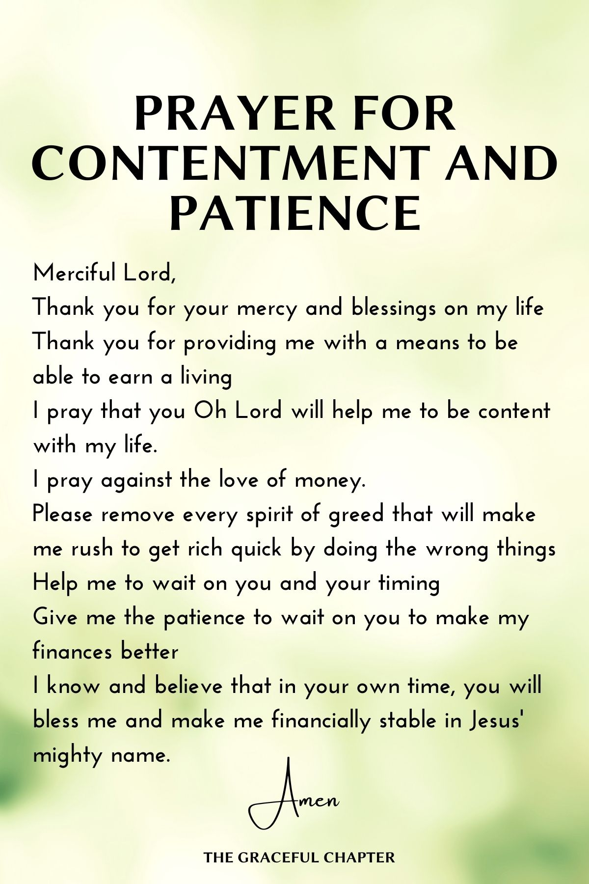 Prayer for contentment and patience