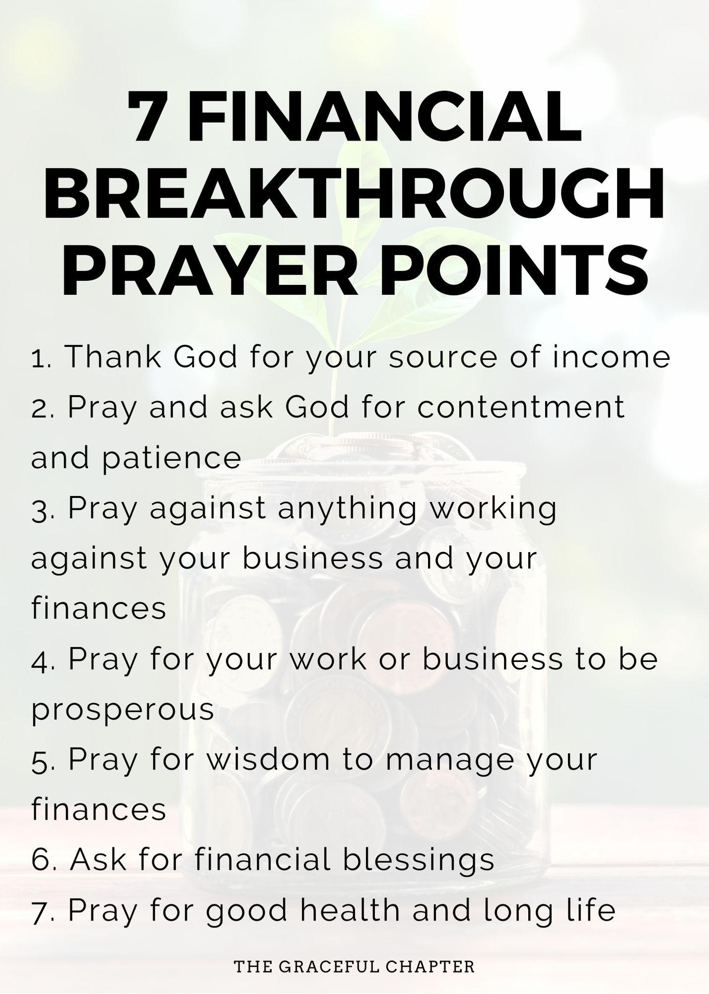 Financial breakthrough prayer points